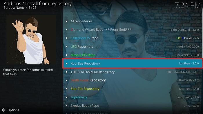 Select Kodi Bae Repository