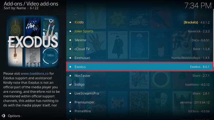 Select Latest Exodus 8.0 Kodi Addon