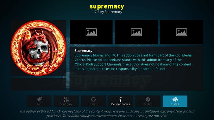 Install Supremacy Kodi Addon