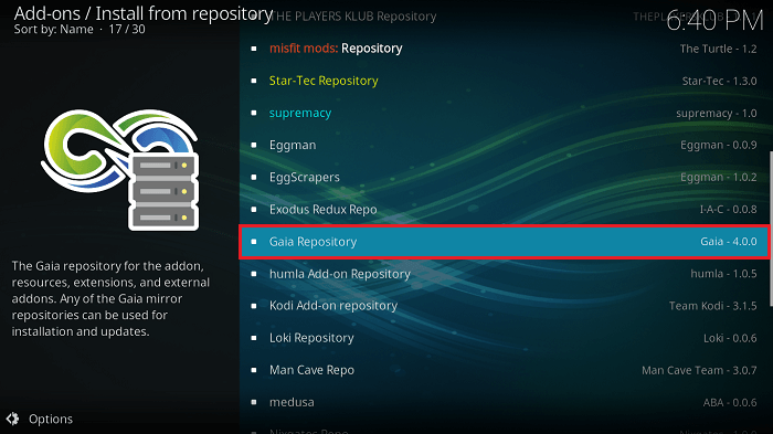 Select Gaia Repository