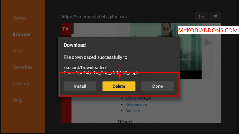 Delete Youtube TV APK file from Firestick