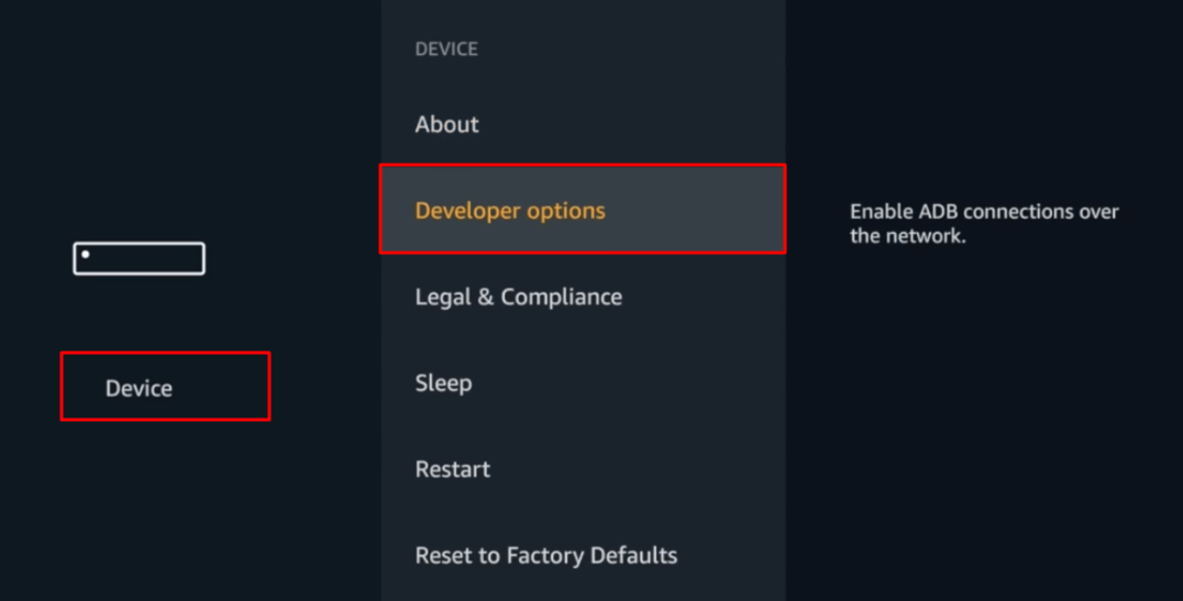Developer Options - Jailbreak Firestick