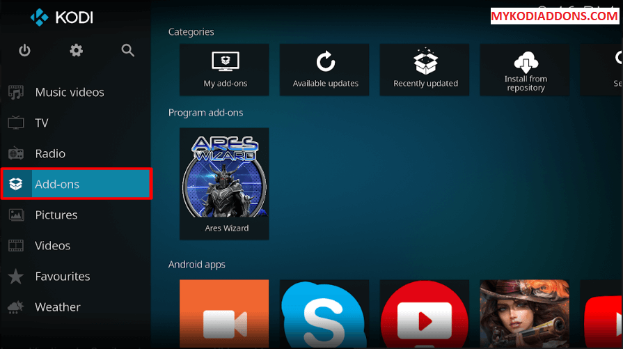 Choose Addons from Kodi Home Screen
