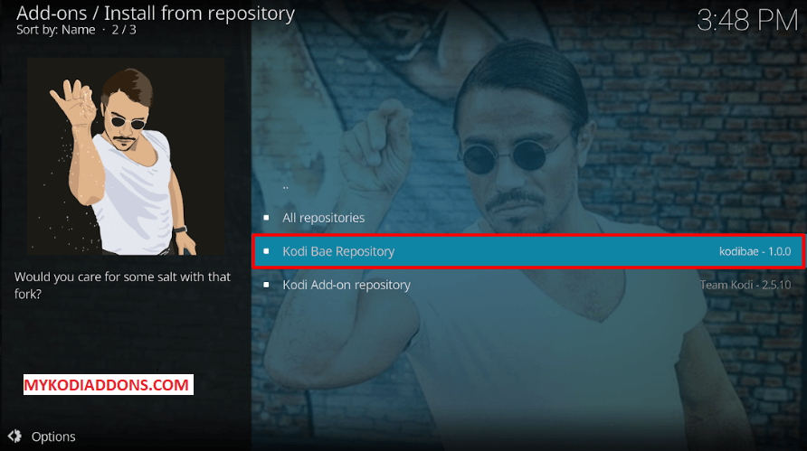 Select Kodi Bae Repository