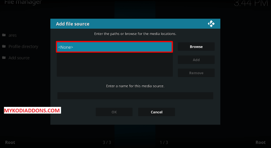 Select None to Enter Media URL - Install Exodus 6.0