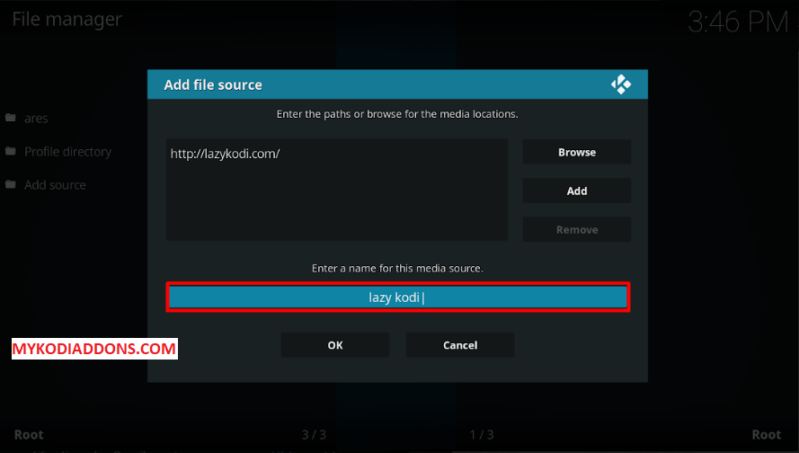 Type Lazy Kodi as Media Name - Install Kodi Bae Repository