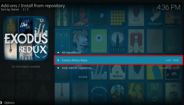 Select Exodus Redux Kodi Addon