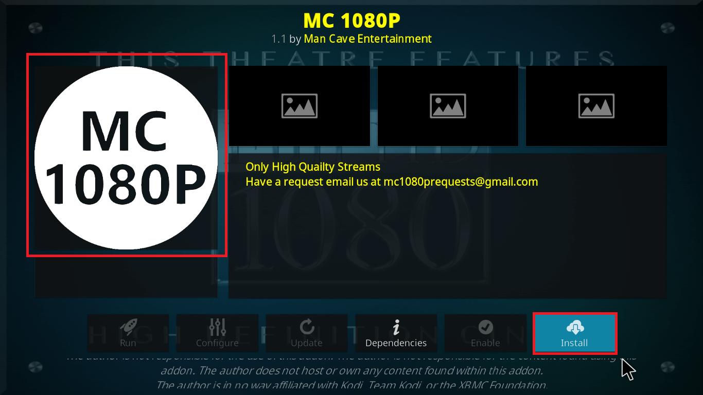 Install MC 1080P Kodi Addon