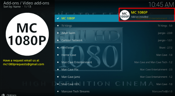 MC 1080P Addon Installed