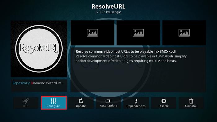 Click Configure ResolveURL