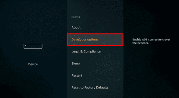 Select Developers Option