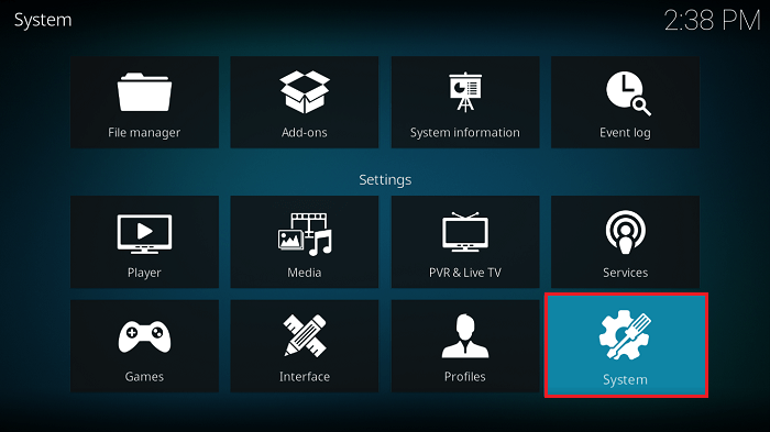 Click on System Icon for RD