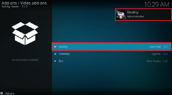 Destiny Kodi Addon Installed