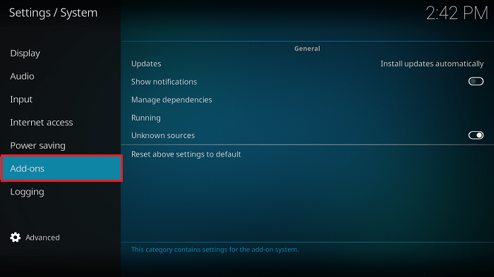 Hover on Addons from Advanced Setting