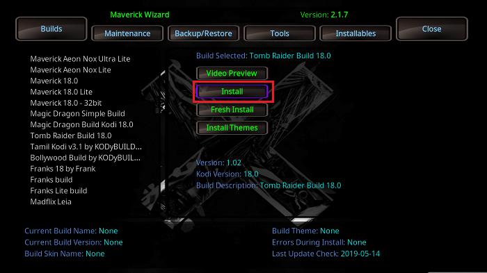 Install Tomb Raider Kodi Build