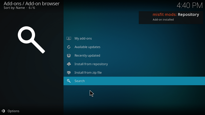 Notification Misfit Addon Installed