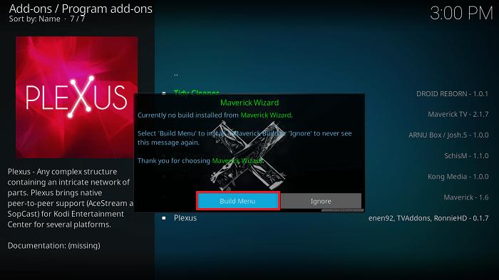 Select Build Menu option