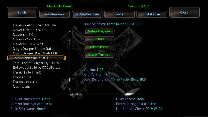Select Tomb Raider Build 18