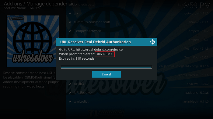 URLResolver Real Debrid Authorization Code