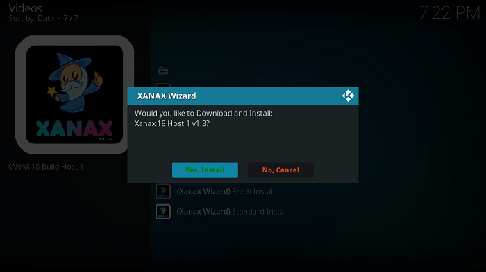 Confirm Install Xanax Kodi Build