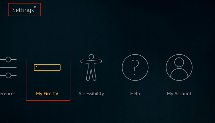 Click on Settings and My Fire TV Option