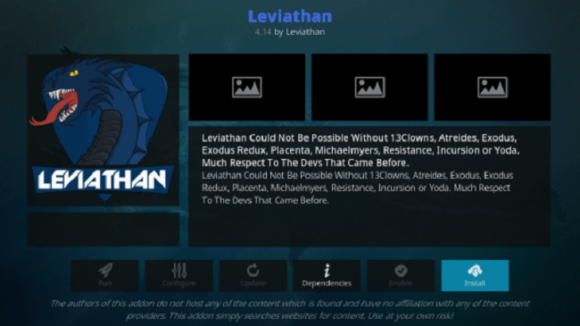 Install Leviathan Kodi Addon on Leia